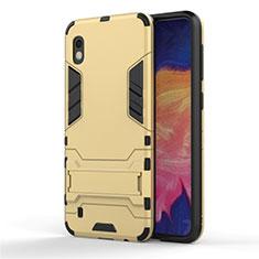 Custodia Silicone e Plastica Opaca Cover con Supporto per Samsung Galaxy A10 Oro