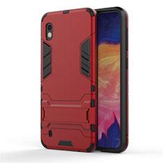 Custodia Silicone e Plastica Opaca Cover con Supporto per Samsung Galaxy A10 Rosso