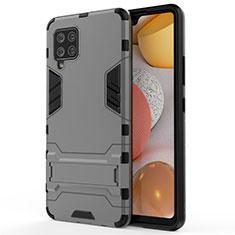 Custodia Silicone e Plastica Opaca Cover con Supporto per Samsung Galaxy A42 5G Grigio