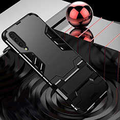 Custodia Silicone e Plastica Opaca Cover con Supporto per Samsung Galaxy A70 Nero