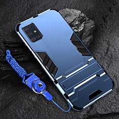 Custodia Silicone e Plastica Opaca Cover con Supporto per Samsung Galaxy A71 5G Blu