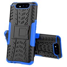 Custodia Silicone e Plastica Opaca Cover con Supporto per Samsung Galaxy A80 Blu