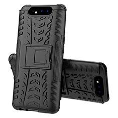 Custodia Silicone e Plastica Opaca Cover con Supporto per Samsung Galaxy A80 Nero