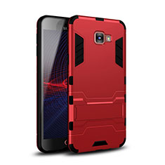 Custodia Silicone e Plastica Opaca Cover con Supporto per Samsung Galaxy A9 (2016) A9000 Rosso