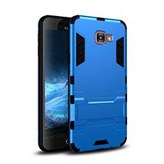 Custodia Silicone e Plastica Opaca Cover con Supporto per Samsung Galaxy A9 Pro (2016) SM-A9100 Blu