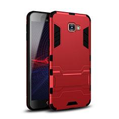 Custodia Silicone e Plastica Opaca Cover con Supporto per Samsung Galaxy A9 Pro (2016) SM-A9100 Rosso