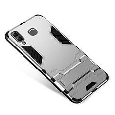 Custodia Silicone e Plastica Opaca Cover con Supporto per Samsung Galaxy A9 Star SM-G8850 Argento