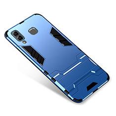 Custodia Silicone e Plastica Opaca Cover con Supporto per Samsung Galaxy A9 Star SM-G8850 Blu
