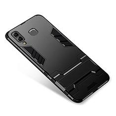 Custodia Silicone e Plastica Opaca Cover con Supporto per Samsung Galaxy A9 Star SM-G8850 Nero