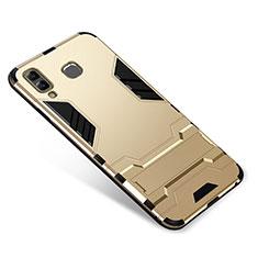 Custodia Silicone e Plastica Opaca Cover con Supporto per Samsung Galaxy A9 Star SM-G8850 Oro