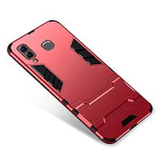 Custodia Silicone e Plastica Opaca Cover con Supporto per Samsung Galaxy A9 Star SM-G8850 Rosso