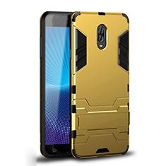 Custodia Silicone e Plastica Opaca Cover con Supporto per Samsung Galaxy C8 C710F Oro