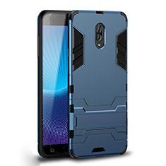 Custodia Silicone e Plastica Opaca Cover con Supporto per Samsung Galaxy J7 Plus Ciano