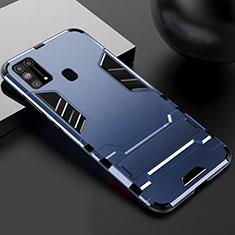 Custodia Silicone e Plastica Opaca Cover con Supporto per Samsung Galaxy M21s Blu