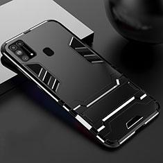 Custodia Silicone e Plastica Opaca Cover con Supporto per Samsung Galaxy M31 Nero