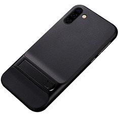 Custodia Silicone e Plastica Opaca Cover con Supporto per Samsung Galaxy Note 10 5G Nero