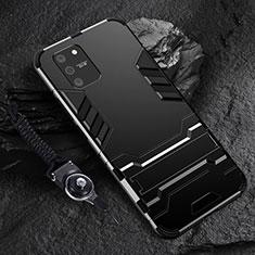 Custodia Silicone e Plastica Opaca Cover con Supporto per Samsung Galaxy S10 Lite Nero