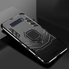 Custodia Silicone e Plastica Opaca Cover con Supporto per Samsung Galaxy S10 Nero