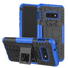 Custodia Silicone e Plastica Opaca Cover con Supporto per Samsung Galaxy S10e Blu