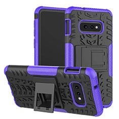 Custodia Silicone e Plastica Opaca Cover con Supporto per Samsung Galaxy S10e Viola