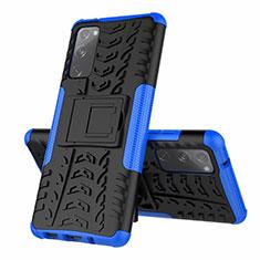 Custodia Silicone e Plastica Opaca Cover con Supporto per Samsung Galaxy S20 FE 5G Blu