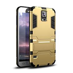 Custodia Silicone e Plastica Opaca Cover con Supporto per Samsung Galaxy S5 Duos Plus Oro