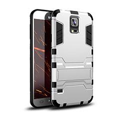 Custodia Silicone e Plastica Opaca Cover con Supporto per Samsung Galaxy S5 G900F G903F Bianco