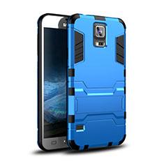 Custodia Silicone e Plastica Opaca Cover con Supporto per Samsung Galaxy S5 G900F G903F Blu