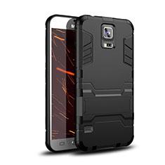 Custodia Silicone e Plastica Opaca Cover con Supporto per Samsung Galaxy S5 G900F G903F Nero