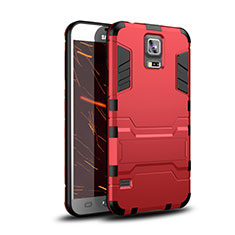 Custodia Silicone e Plastica Opaca Cover con Supporto per Samsung Galaxy S5 G900F G903F Rosso