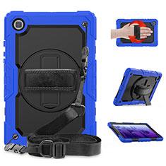 Custodia Silicone e Plastica Opaca Cover con Supporto per Samsung Galaxy Tab A7 4G 10.4 SM-T505 Blu