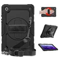 Custodia Silicone e Plastica Opaca Cover con Supporto per Samsung Galaxy Tab A7 4G 10.4 SM-T505 Nero