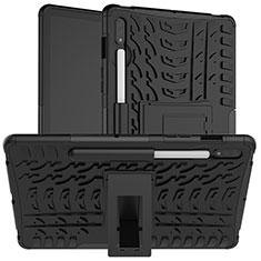Custodia Silicone e Plastica Opaca Cover con Supporto per Samsung Galaxy Tab S7 4G 11 SM-T875 Nero