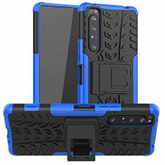 Custodia Silicone e Plastica Opaca Cover con Supporto per Sony Xperia 1 II Blu