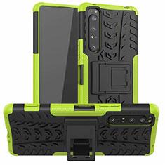 Custodia Silicone e Plastica Opaca Cover con Supporto per Sony Xperia 1 II Verde