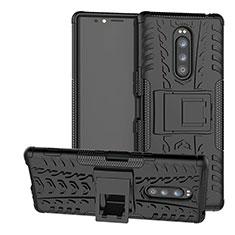 Custodia Silicone e Plastica Opaca Cover con Supporto per Sony Xperia 1 Nero