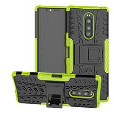 Custodia Silicone e Plastica Opaca Cover con Supporto per Sony Xperia 1 Verde