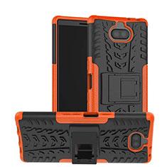 Custodia Silicone e Plastica Opaca Cover con Supporto per Sony Xperia 10 Arancione