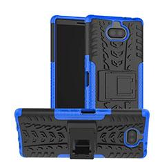 Custodia Silicone e Plastica Opaca Cover con Supporto per Sony Xperia 10 Blu