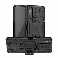 Custodia Silicone e Plastica Opaca Cover con Supporto per Sony Xperia 10 II Nero