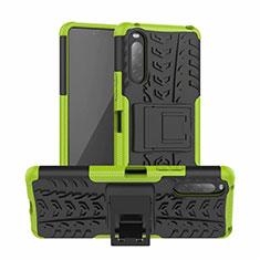 Custodia Silicone e Plastica Opaca Cover con Supporto per Sony Xperia 10 II Verde