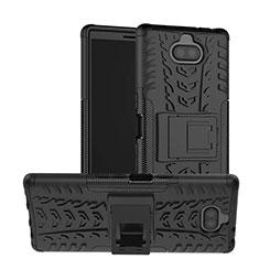 Custodia Silicone e Plastica Opaca Cover con Supporto per Sony Xperia 10 Plus Nero