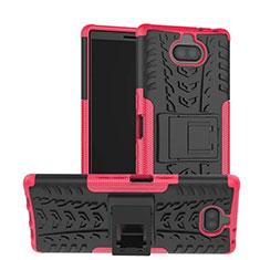 Custodia Silicone e Plastica Opaca Cover con Supporto per Sony Xperia 10 Rosa Caldo