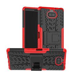 Custodia Silicone e Plastica Opaca Cover con Supporto per Sony Xperia 10 Rosso