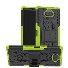 Custodia Silicone e Plastica Opaca Cover con Supporto per Sony Xperia 10 Verde