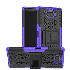 Custodia Silicone e Plastica Opaca Cover con Supporto per Sony Xperia 10 Viola