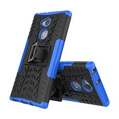 Custodia Silicone e Plastica Opaca Cover con Supporto per Sony Xperia XA2 Blu