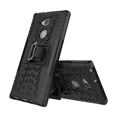 Custodia Silicone e Plastica Opaca Cover con Supporto per Sony Xperia XA2 Nero