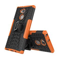 Custodia Silicone e Plastica Opaca Cover con Supporto per Sony Xperia XA2 Plus Arancione