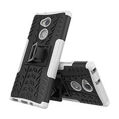 Custodia Silicone e Plastica Opaca Cover con Supporto per Sony Xperia XA2 Plus Bianco